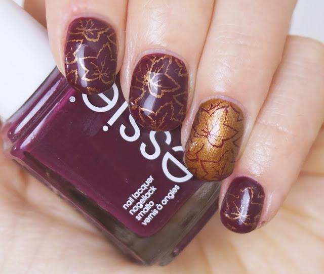 "Nail Art: ""Falling Leaves"" - Willkommen im Herbst! Essie - Bahama Mama, Leggy Legend, Ahornblätter, Nagellack, Ahorn, gold"