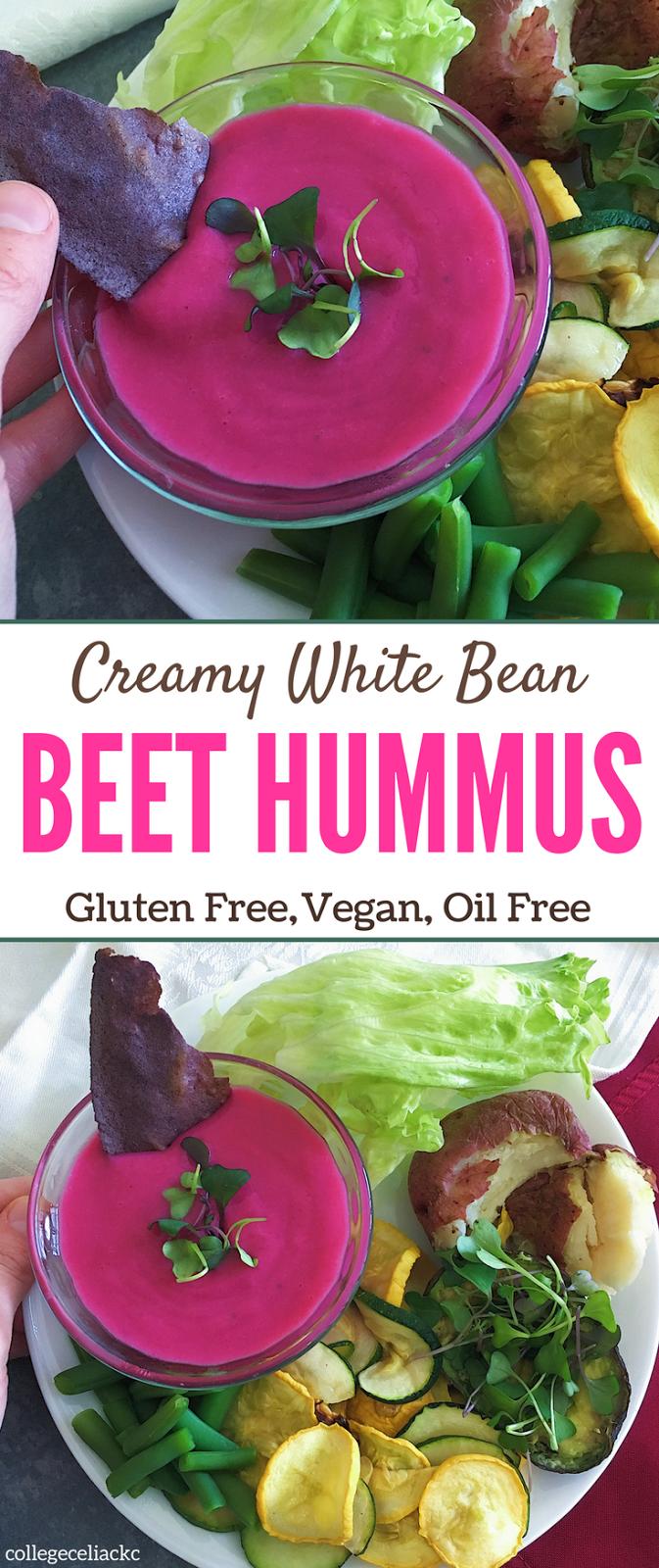 Creamy White Bean Beet Vegan Hummus Recipe (Gluten Free, Vegan, Oil Free)