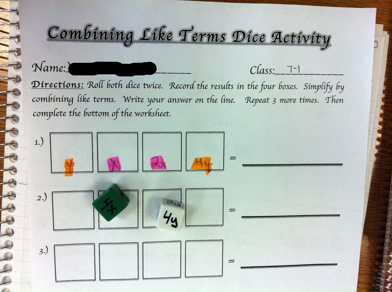 Middle School Math Madness!: Combining Like Terms Dice ...