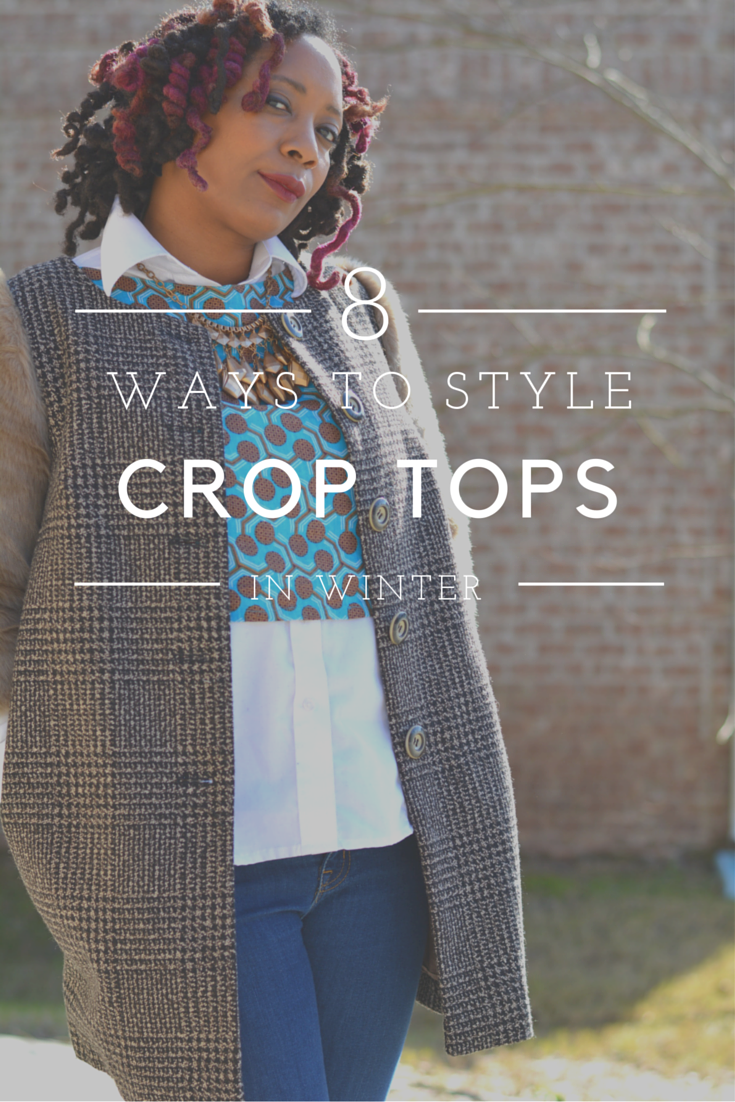 how to style crop tops in winter