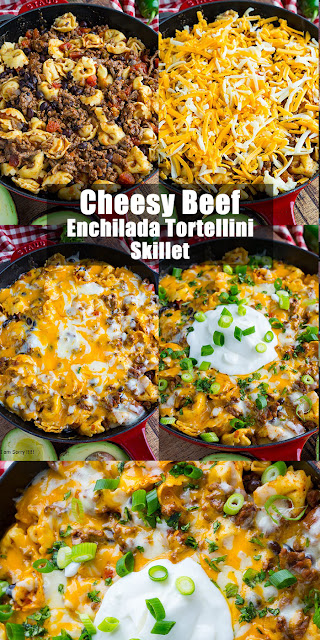 Very Yummy Cheesy Beef Enchilada Tortellini Skillet