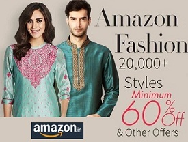 Amazon Diwali Fashion Sale: Min 60% Off on Clothing | Footwear | Bags & Luggage | Jewellery | Watches | Sunglasses