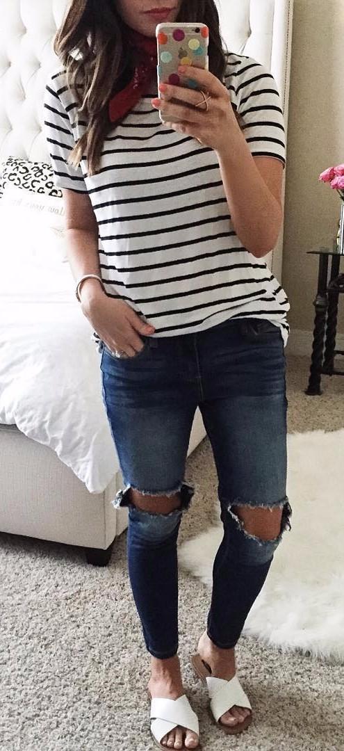 stripes + rips: street style