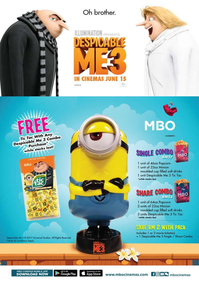Once Despicable Me 3 Officially Opens On 15 June GSC Cinemas Will Be Giving Out Mini Minion Keychains With Their Combo Comprising 2 Regular