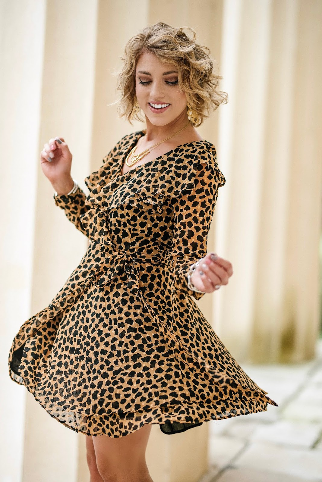 A Dress You'll Want To Twirl In: Free People Leopard Wrap Dress - Something Delightful Blog @racheltimmerman