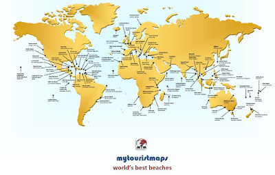 World's best beaches tourist map