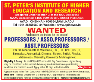 St.Peter's Institute of Higher Education and Research Recruitment 2019 Professor/Associate Professor/Assistant Professor Jobs Notification