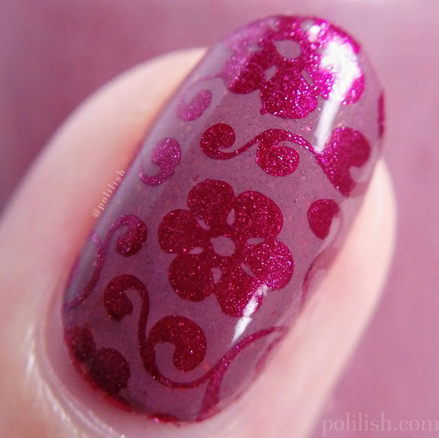 Floral stamped nail art with Delush Polish 'Gentle Lion' | polilish