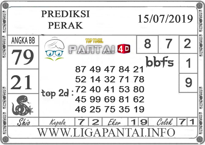 """PREDIKSI TOGEL """"PERAK"""" PANTAI4D 15 JULI 2019"""