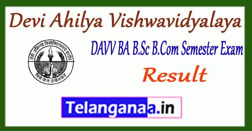 DAVV Devi Ahilya Vishwavidyalaya BA B.Sc B.Com 1st 3rd 5th Semester Result