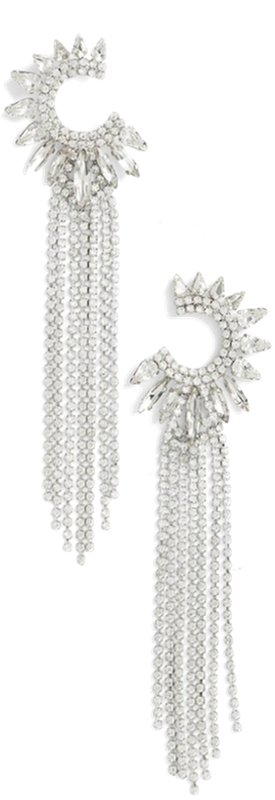 CRISTABELLE Crescent Fringe Statement Earrings