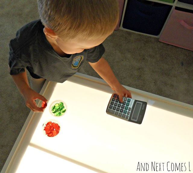 Apple counting activities for preschoolers and kindergarten kids on the light table