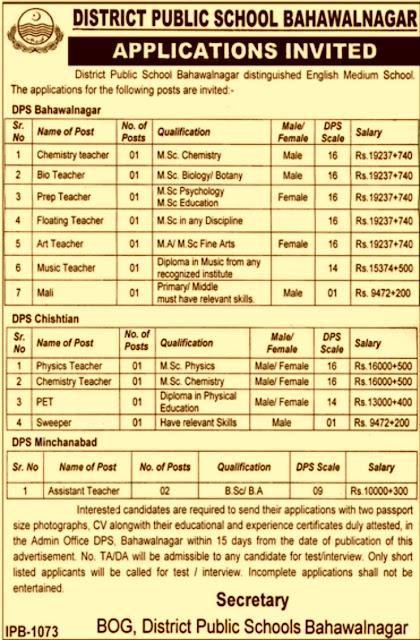 District Public School (DPS) Bahawalnagar Jobs 2019