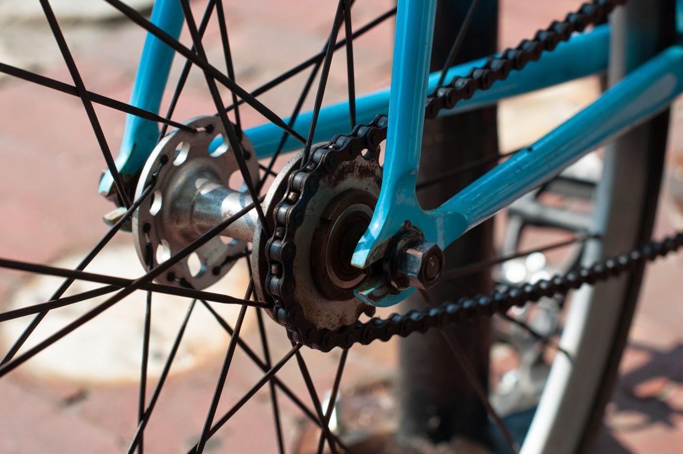 Fixie, fixed speed, bicycle, boston, USA, custom, customised, blue, tim Macauley, the biketorialist, shimano, frame, 3t, ritchey, tiagra , cog