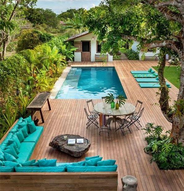 Havuzlu teras dekorasyonu örnekleri