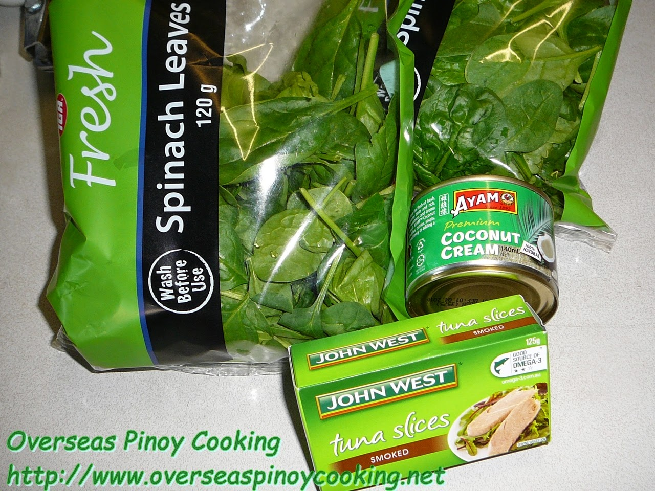 Ginataang Canned Smoked Tuna with Spinach - Ingredients