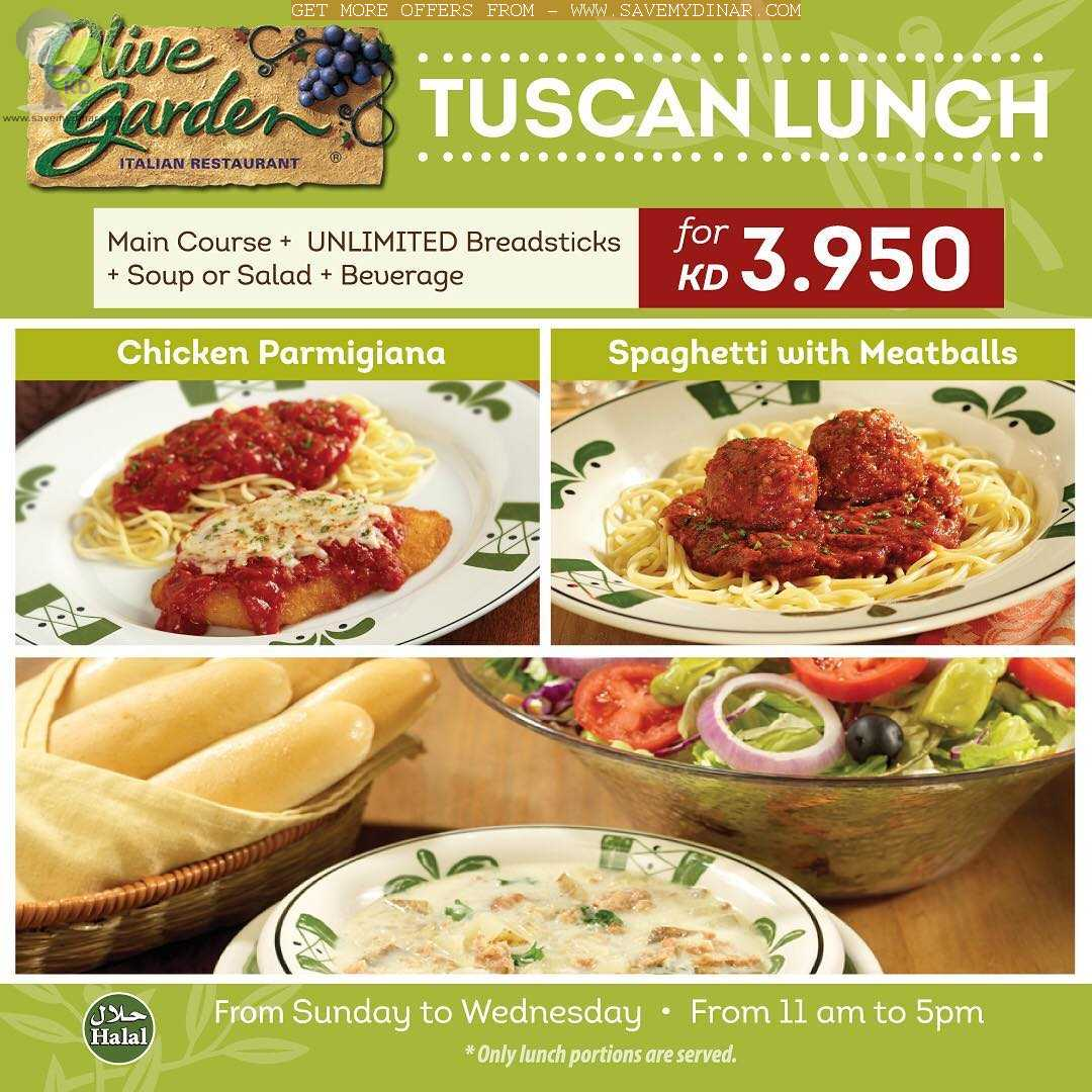 Olive Garden Kuwait Tuscan Lunch For Kd Savemydinar Offers Deals Promotions In Kuwait