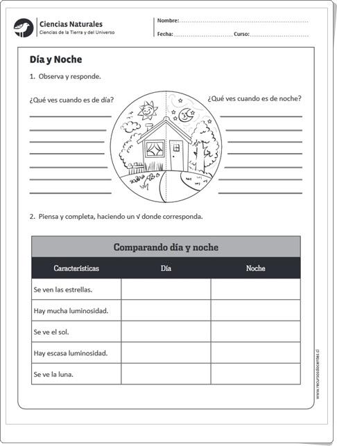 Día y noche (Ficha de Ciencias Sociales de Primaria)