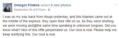 Fulani herdsmen shot us but it didn't enter, Facebook user Omogor Fidelis narrates