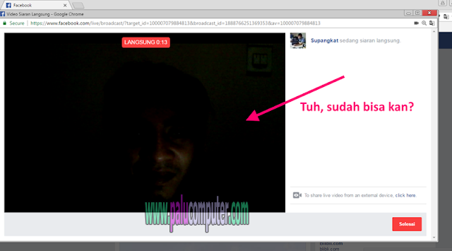siaran langsung di facebook lewat laptop