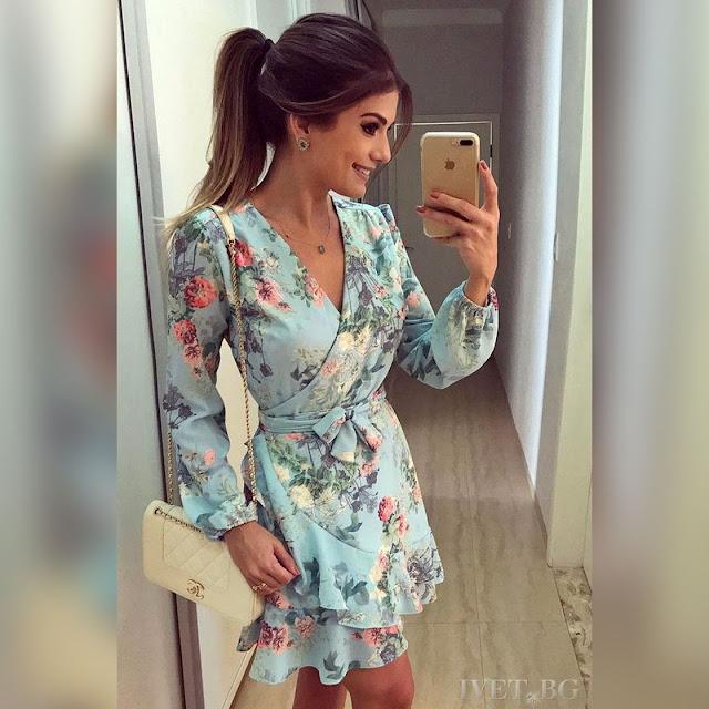 Μακρυμάνικο κοντό χρωματιστό φόρεμα LIZ