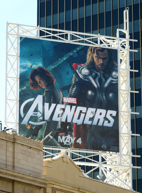 Avengers Black Widow and Thor billboard