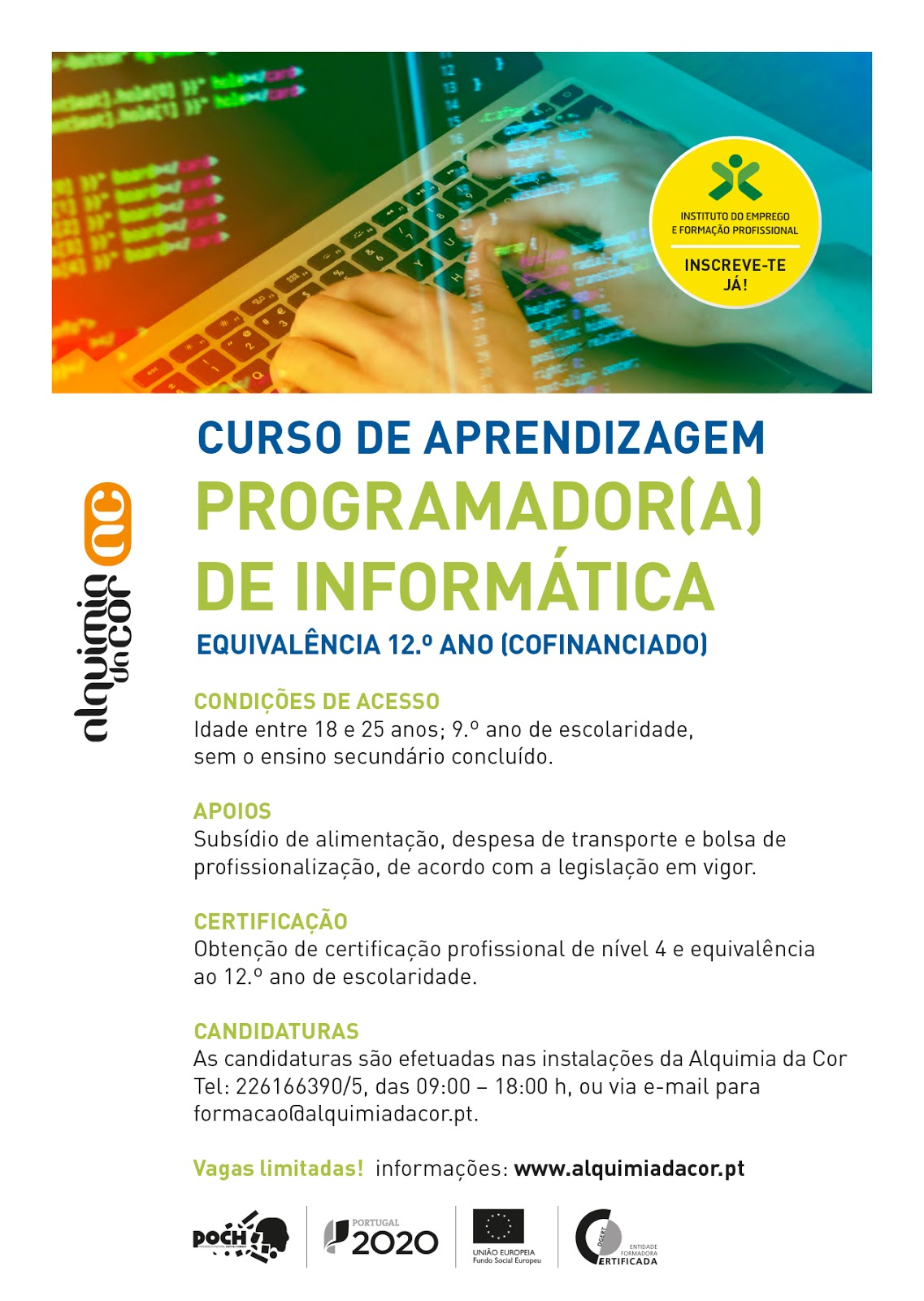 Curso co-financiado: Programador/a de Informática – Porto (equivalência 12º ano)