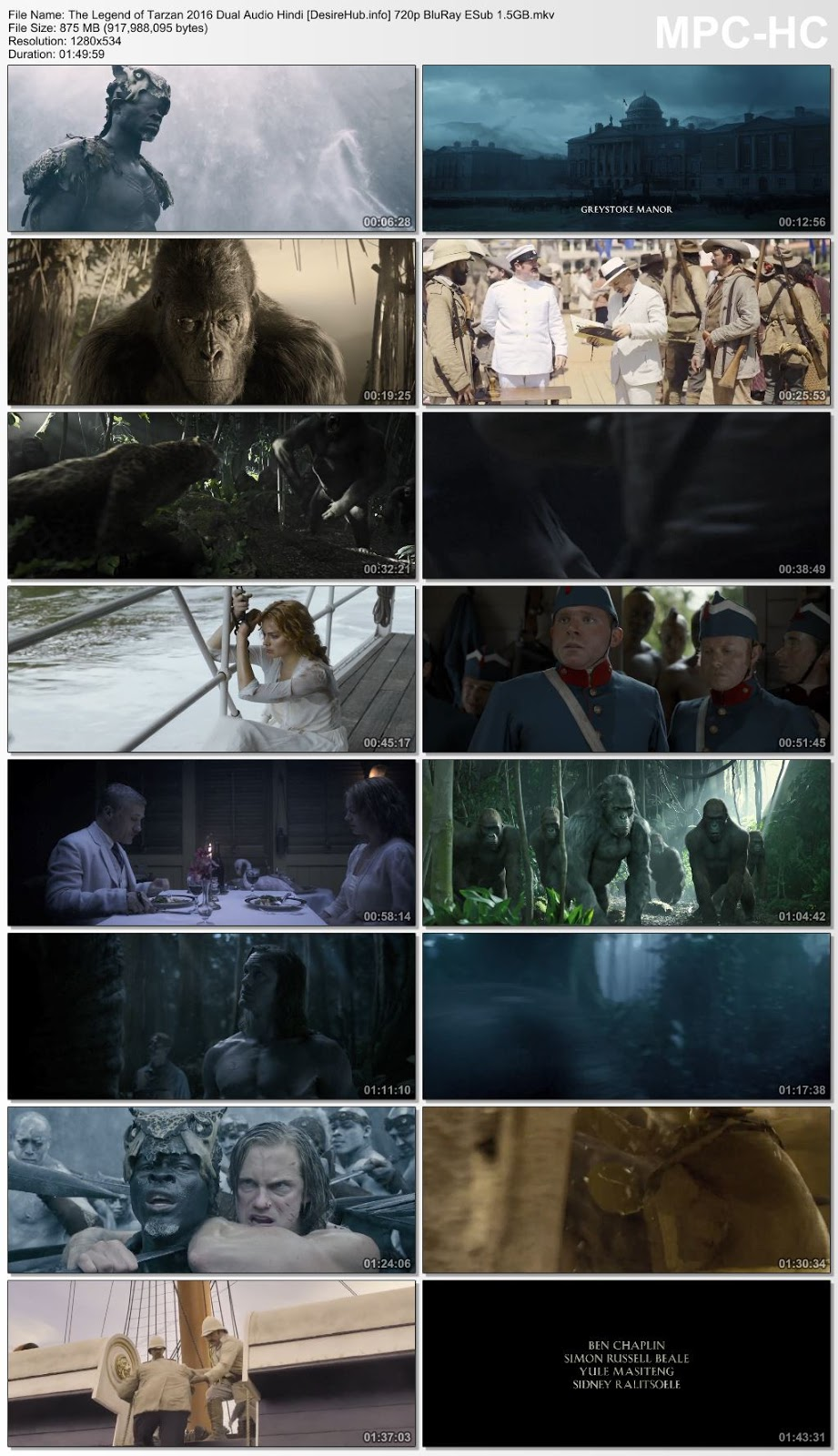 The Legend of Tarzan 2016 Dual Audio Hindi 720p BluRay 850MB Desirehub