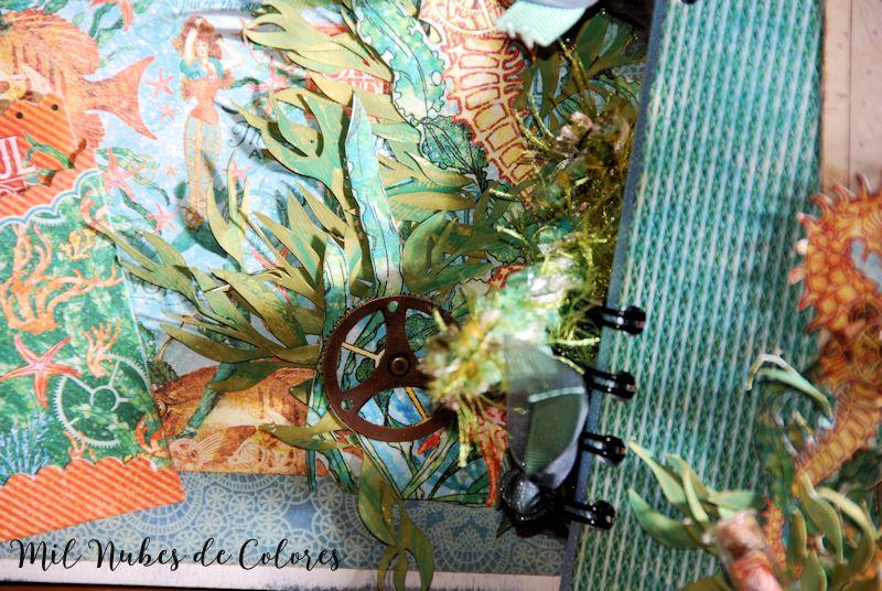 Caja y mini álbum marinos con papeles de Graphic45