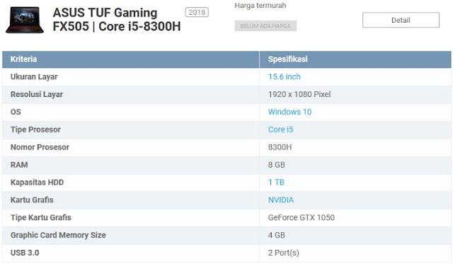 Spesifikasi Laptop game asus TUF Gaming FX505