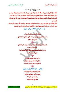 تحميل مذكرة منهج اللغة العربية الصف الأول الإعدادى الترم الثانى ,للاستاذ عبدالحميد عيسى