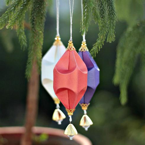 trio of oblong paper sculpture ornaments