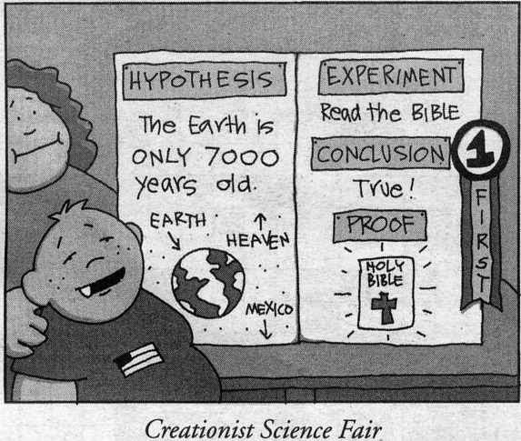 Funny Creationist Science Fair Fail Cartoon Picture