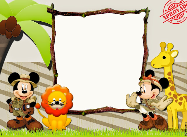 Invitación, tarjeta o marco de fotos de Mickey y Minnie de Safari.