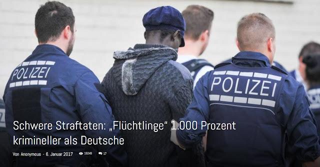 """Schwere Straftaten: """"Flüchtlinge"""" 1.000 Prozent krimineller als Deutsche"""