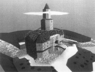 An ariel view of Princess Peach's original castle.