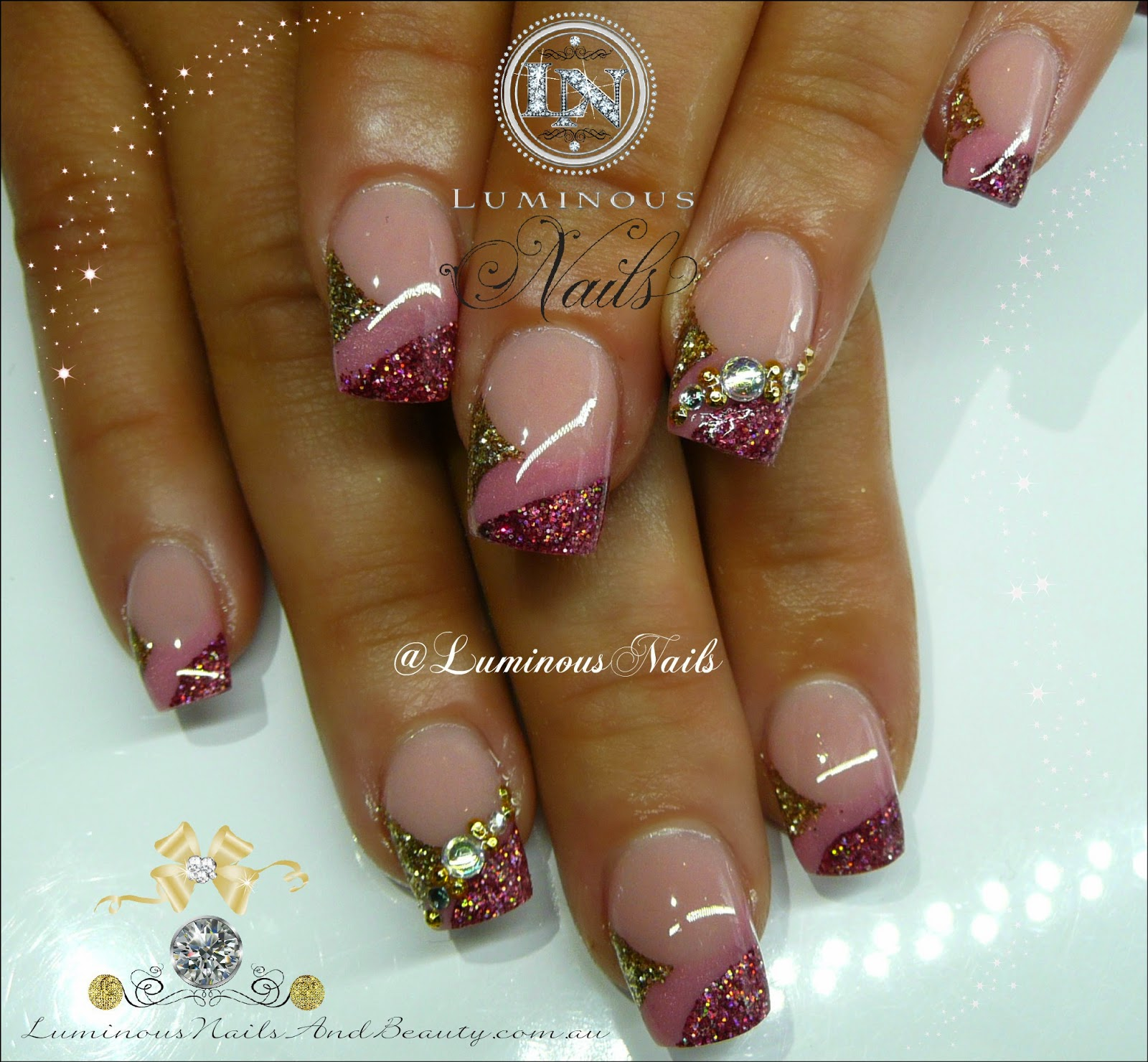 Acrylic Nail Art Rose: Bridesmaid Nails... Rose Pink & Gold Nails