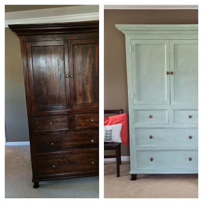 Armoire finished in Annie Sloan Duck Egg Blue and Old White before and after | The Lowcountry Lady