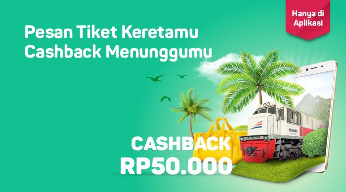 Bukalapak - Promo Pesat Tiket Kereta Dapat Cashback s.d 50 Ribu (s.d 31 Juli 2018)