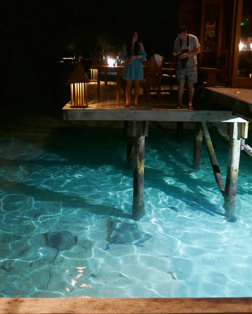 Euriental | fashion & luxury travel | Conrad Maldives, stingrays at Mandhoo restaurant
