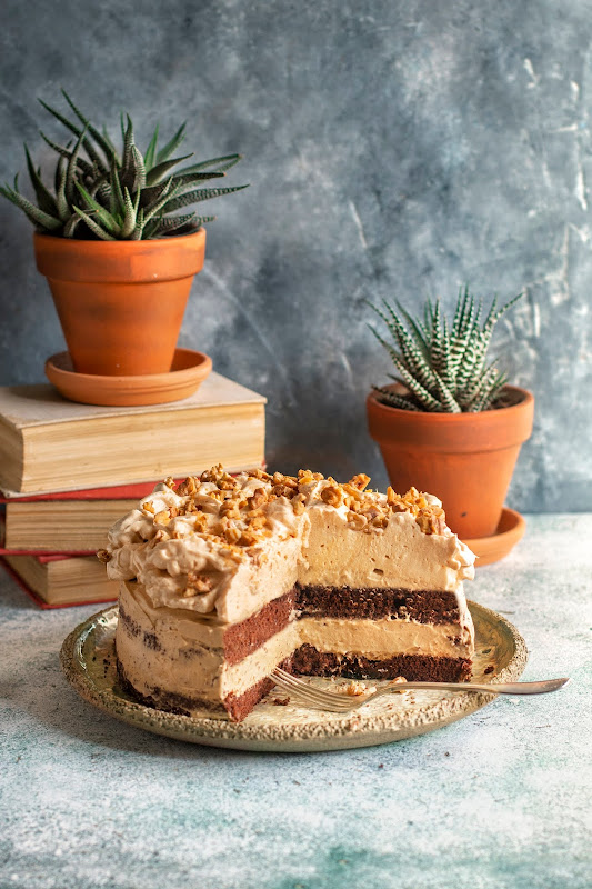 Chocolate mocha cake with burnt sugar foam