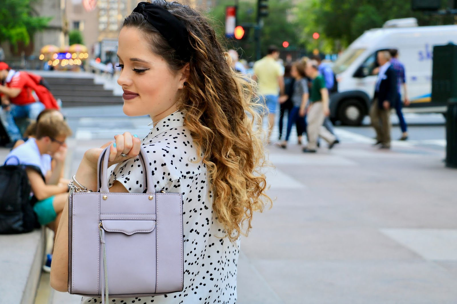 Nyc fashion blogger Kathleen Harper's purple Rebecca Minkoff top handle purse