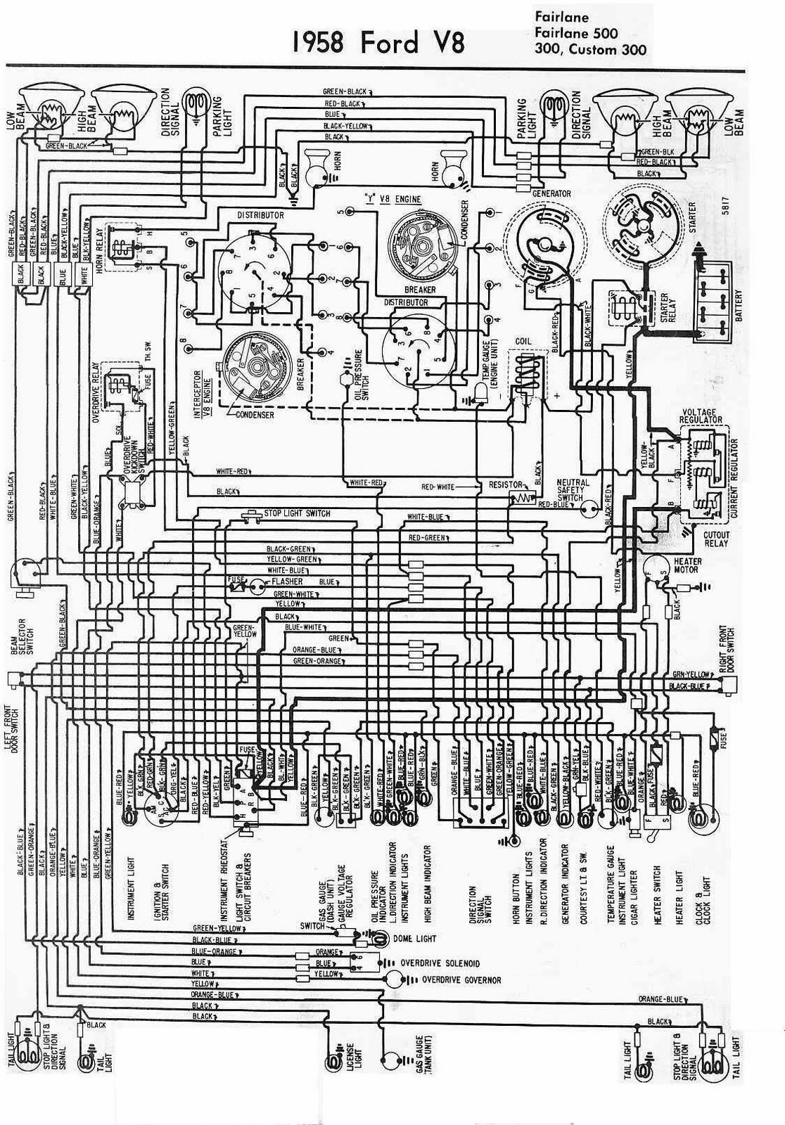 Electrical Bwiring Bdiagram Bfor B Bford Bv on 1957 Ford Fairlane Wiring Diagram