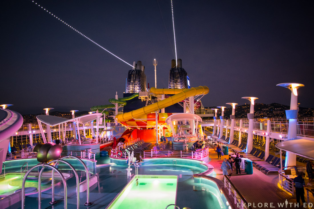 Norwegian Epic Pool Deck, At Night, Sailaway