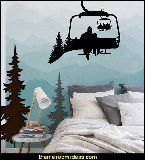Ski Lift Wall Decal Skiers Decals Snowboard Winter Sport