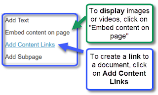 Click on Add Content Links to link to a document; click on Embed content on page to display videos and images