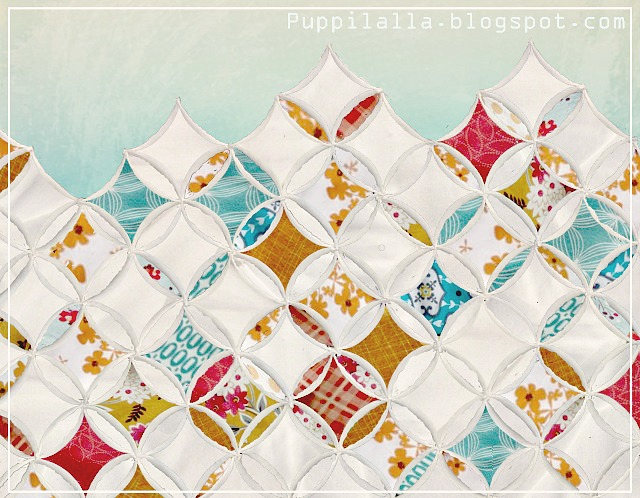 modern cathedral window quilt, Puppilalla, Fussy cuts, Peter robs Paul,