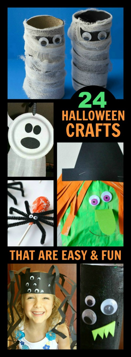 24 EASY FRIGHTFULLY ADORABLE HALLOWEEN CRAFTS FOR KIDS.  Perfect for class parties!