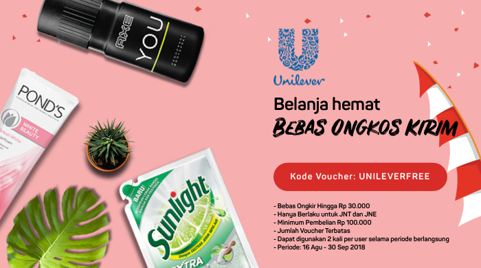 Bukalapak - Voucher Gratis Ongkir Belanja di Unilever Official Store (s.d 30 Sept 2018)