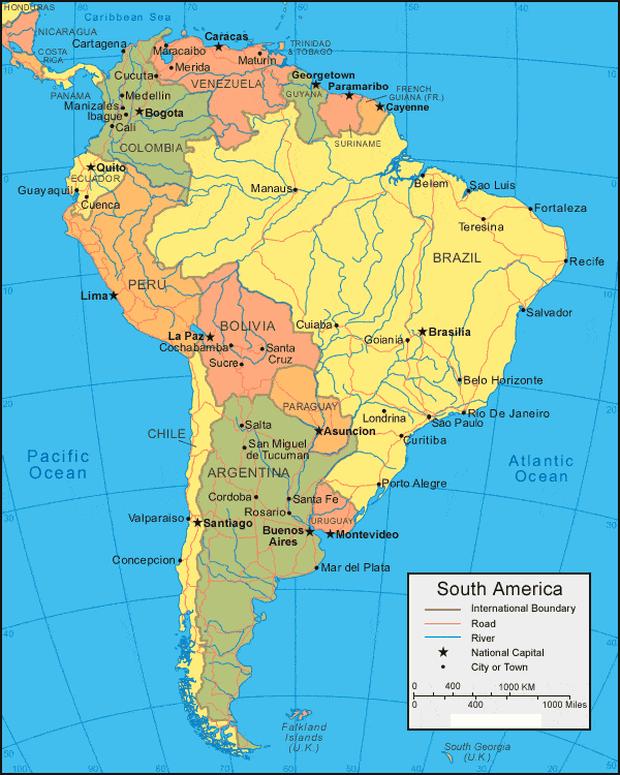 peta benua amerika selatan lengkap dengan keterangan